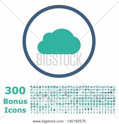 Cloud rounded icon with 300 bonus icons. Vector illustration style is flat iconic bicolor symbols, cobalt and cyan colors, white background.