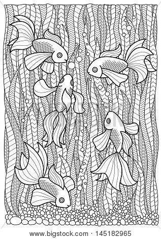 Hand drawn marine adult coloring book page fish swim in algae, anti stress zentangle A4 size
