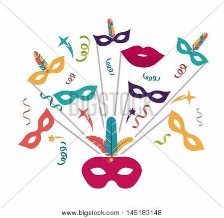 streamer mask feather mouth carnival festival circus fair celebration  icon. Colorful design. Vector illustration