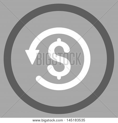 Chargeback vector bicolor rounded icon. Image style is a flat icon symbol inside a circle, dark gray and white colors, silver background.