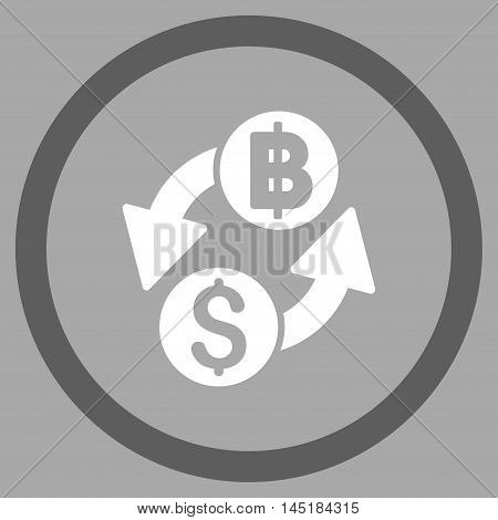 Dollar Baht Exchange vector bicolor rounded icon. Image style is a flat icon symbol inside a circle, dark gray and white colors, silver background.