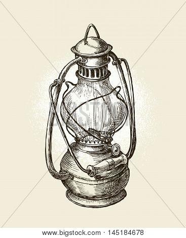 Hand drawn vintage kerosene lamp. Sketch oil lamp. Vector illustration