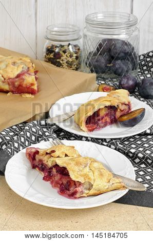 Slice Of Fresh Baked Homemade Strudel With Plum, Walnuts And Sugar Powder