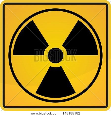 Radioactive sign symbol in circle in the yellow and black colors