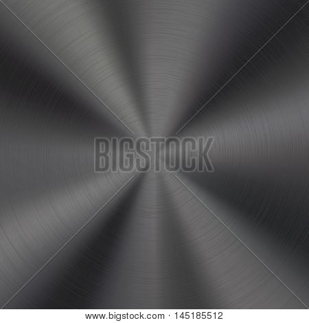 Black metal technology background with polished, brushed circular texture, chrome, silver, steel, aluminum for design concepts, web, prints, posters, interfaces. Vector illustration.