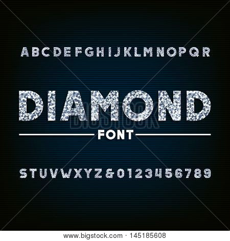 Diamond alphabet font. Brilliant letters and numbers. Stock vector typography for your design.