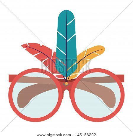 feather glasses carnival festival circus fair celebration  icon. Colorful design. Vector illustration