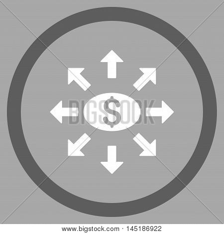 Mass Cashout vector bicolor rounded icon. Image style is a flat icon symbol inside a circle, dark gray and white colors, silver background.