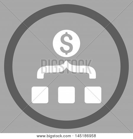 Money Aggregator vector bicolor rounded icon. Image style is a flat icon symbol inside a circle, dark gray and white colors, silver background.