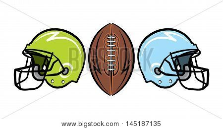 Hand drawn American football helmets and ball illustration. Vector EPS 10 available.