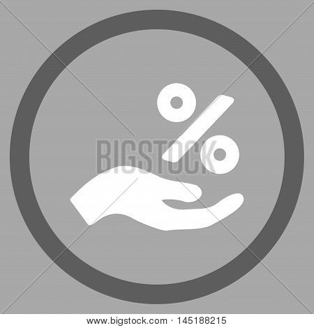 Percent Offer Hand vector bicolor rounded icon. Image style is a flat icon symbol inside a circle, dark gray and white colors, silver background.