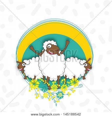 Sheep's with floral frame for Muslim Community, Festival of Sacrifice, Eid-Al-Adha Mubarak.