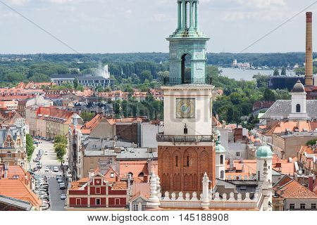 Poznan, Poland - June 28, 2016: Town Hall, Old And Modern Buildings In Polish City Poznan