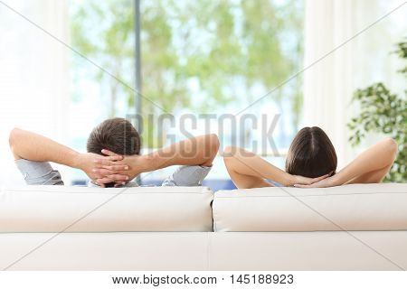 poster of Rear view of a couple relaxing on a sofa at home and looking outside a green background through the window of the living room