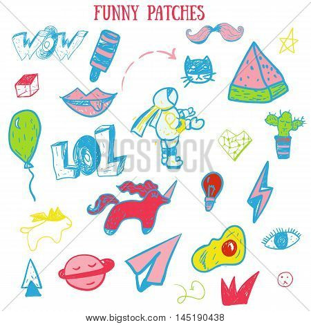 Funny vintage set cartoon patch badges with lips, astranaut, cat, egg, watermlon. Vector illustration.