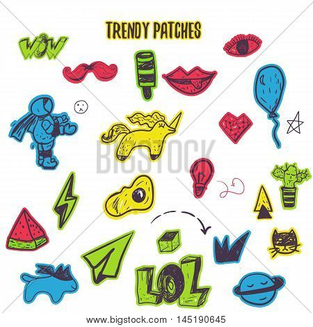 Funny set cartoon patch badges with lips, astranaut, cat, egg, watermlon. Vector illustration.