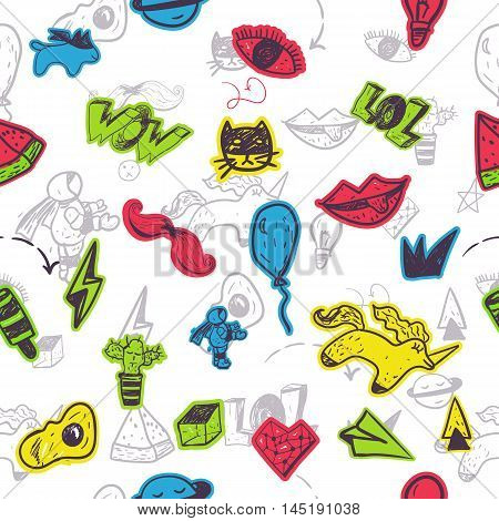 Funny seamless cartoon patch badges pattern with lips, astranaut, cat, egg, watermlon for kids fashion. Vector illustration.