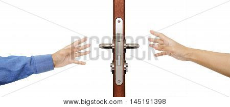 Hands trying reaching to grab door knob, isolated on white background