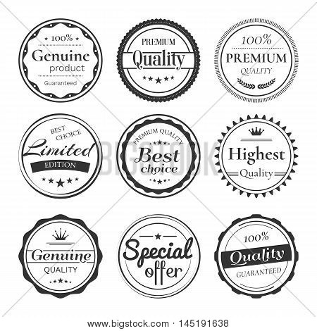 Vector set of retro badges and labels. Vintage design elements with title Genuine product, Premium quality, Best choice, Limited edition, Special offer. Isolated from a background.