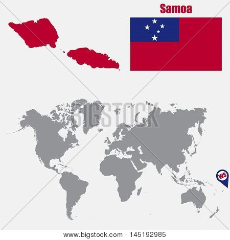 Samoa map on a world map with flag and map pointer. Vector illustration