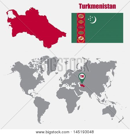 Turkmenistan map on a world map with flag and map pointer. Vector illustration