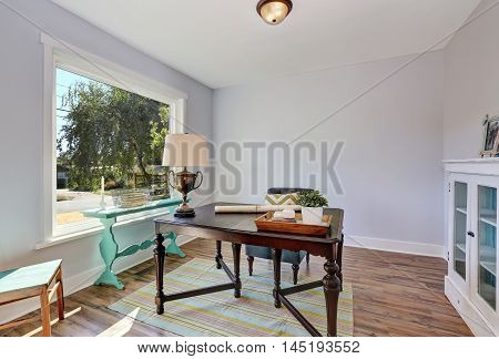 Home Office Interior. Vintage Wooden Desk In Old Style House
