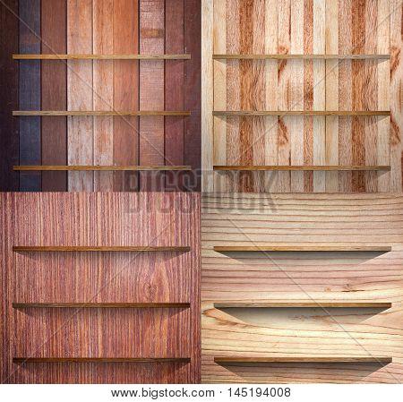 Wooden bookshelf background Collection Four different bookshelf