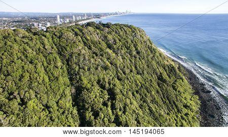 Aerial view close up of Burleigh Headland National Park. Gold Coast, Australia