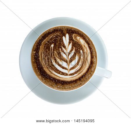 mocha coffee in white cup isolated top view