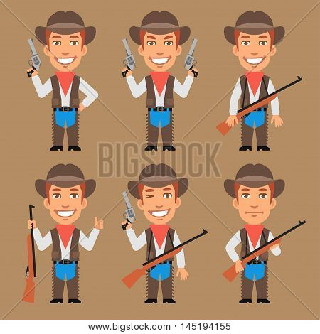 Vector Illustration, Cowboy Holds Weapons, Format EPS 8