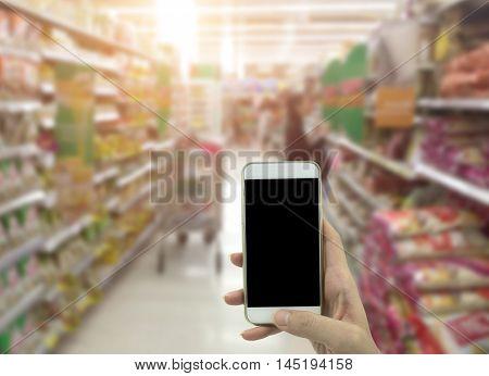 Holding Smart Phone Isolated Over White Background - Mockup