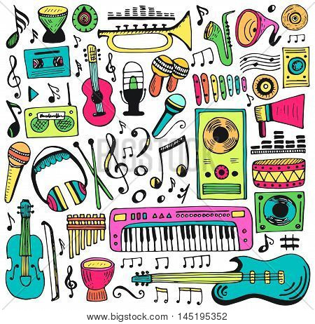 Music doodle collection. Hand drawn illustration. Vector design element notes and musical instruments. Music cartoon background.
