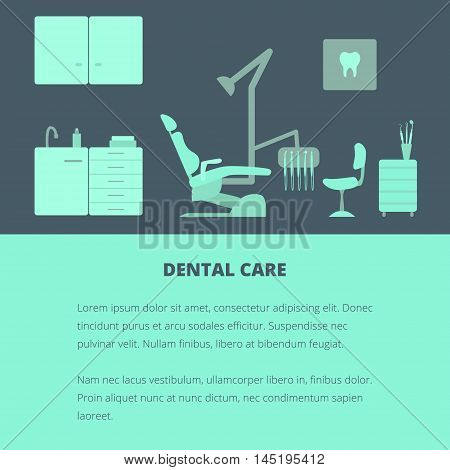 Vector dental care concept, template, layout. Dental chair, dentist tools, dentist office.