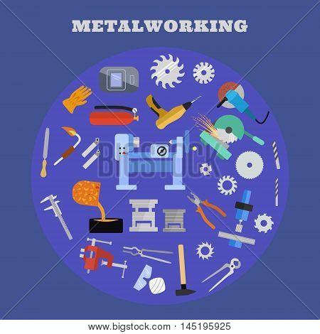 Vector metalworking poster, concept. Metalworking big icon set.