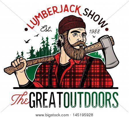 Lumberjack Template Logo. Lumberjack mascot holding the axe. Vector Design Illustration.