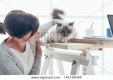 Young Woman With Her Lovely Cat