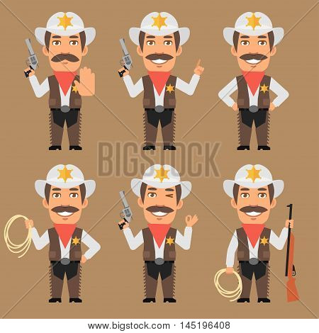 Vector Illustration, Sheriff Cowboy Holds Weapons and Rope, Format EPS 8