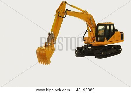 The Excavator backhoe model on white background