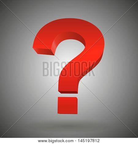 red question mark isolated white background Vector illustration