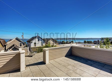 Roof Terrace Exterior Of Luxury Modern House In Tacoma.