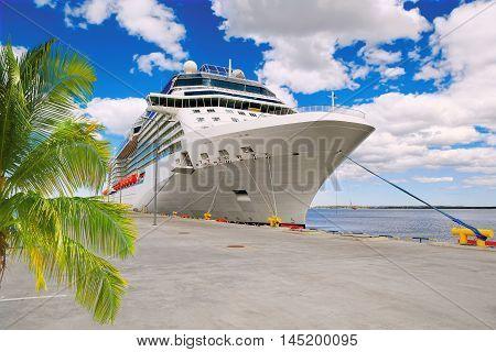 Luxury Cruise Ship in Port . .