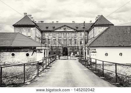 Beautiful castle in Holic Slovak republic. Cultural heritage. Architectural theme. Black and white photo. Historical object.