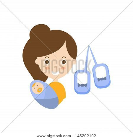 Motherhood As Personal Happiness Idea. Woman Holding A Baby And Walkie-Talkie Simple Flat Cartoon Vector Illustration On White Background