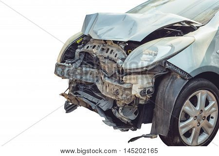 Close up front of accident car by crashed isolated on white background