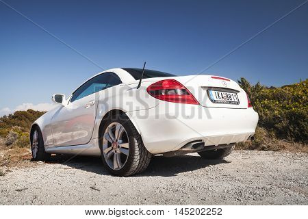 White Mercedes-benz Slk 200, Rear View