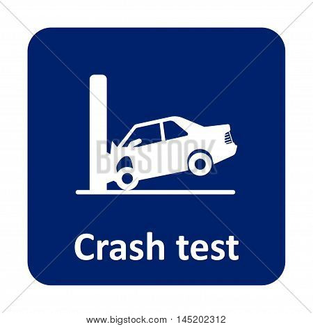 Car Crash Test With Wall Vector Icon For Web And Mobile
