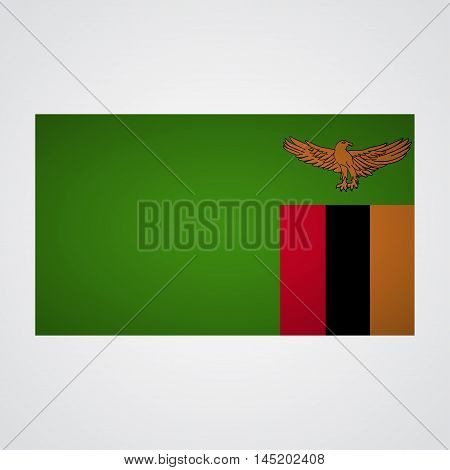 Zambia flag on a gray background. Vector illustration