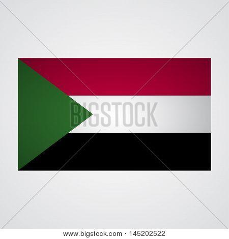 Sudan flag on a gray background. Vector illustration