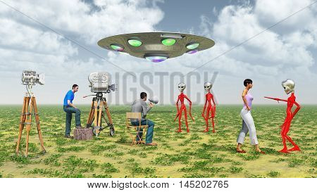 Computer generated 3D illustration with movie crew, flying saucer and aliens