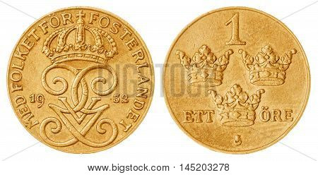 1 Ore 1932 Coin Isolated On White Background, Sweden